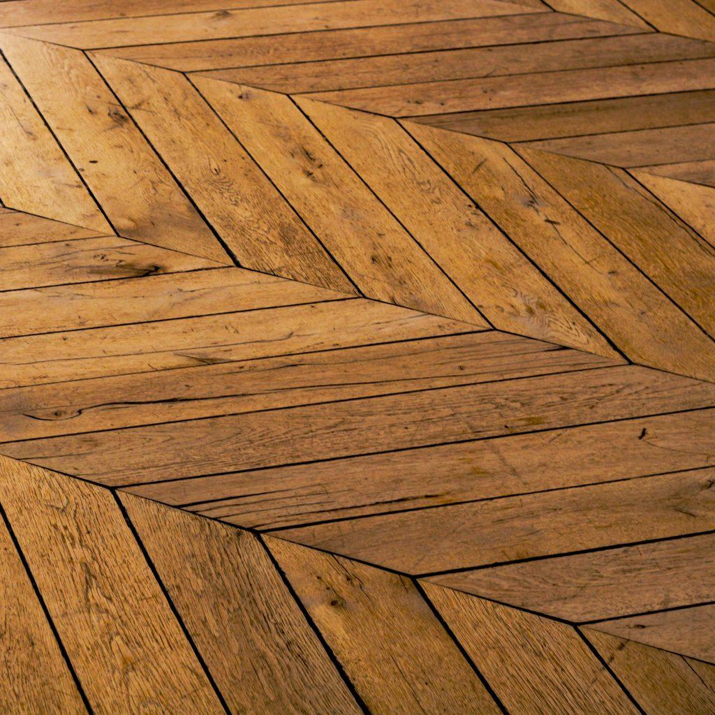 Wooden floor board in diagonal shape