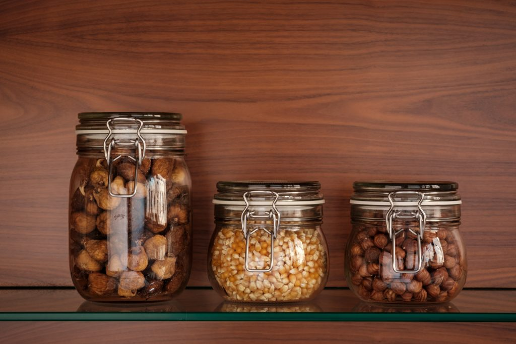 Glass jar shelf wooden